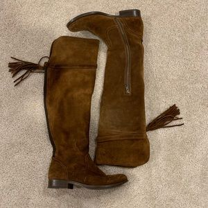 Frye Molly Suede Over the Knee Tassel Boots